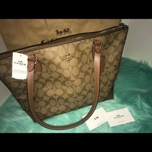 Coach Signature F29208 Khaki/Saddle Tote Brand New